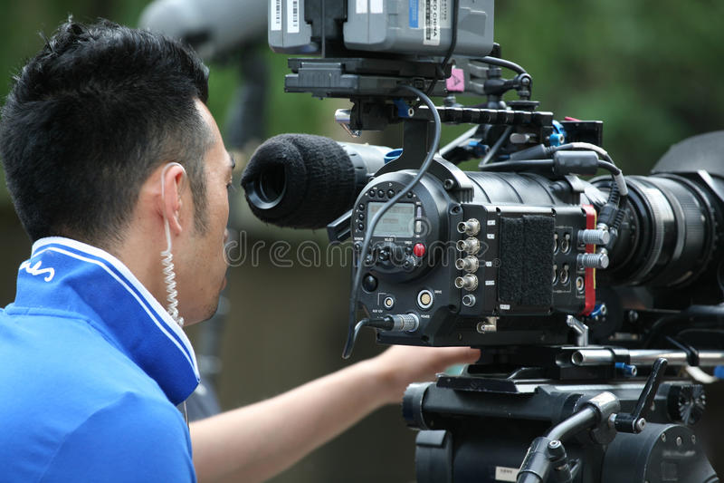 Operator removes video stock photo