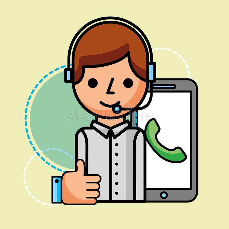 Operator smartphone hand like customer service. Vector illustration vector illustration