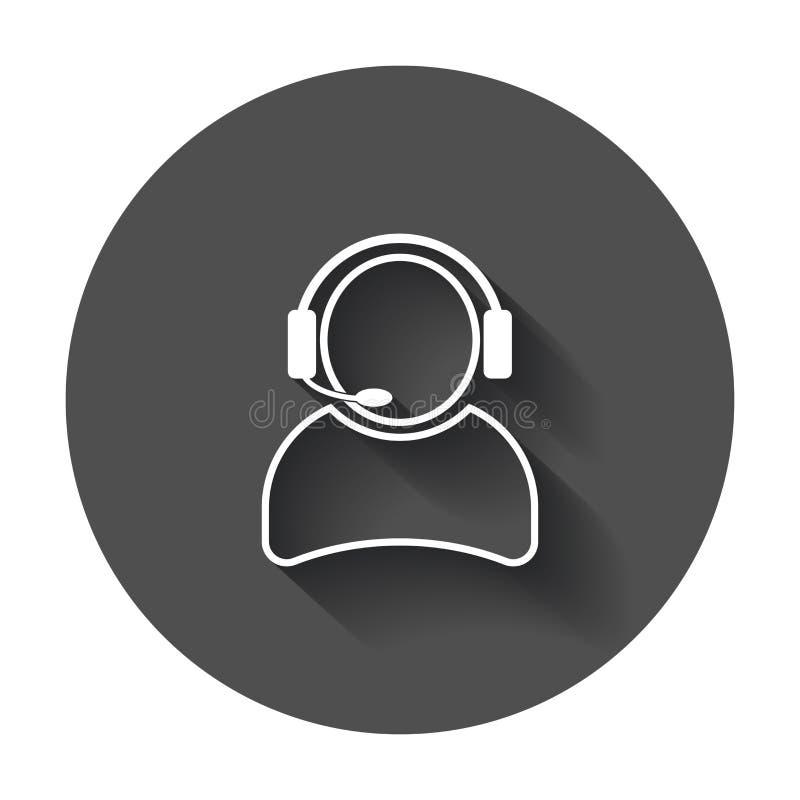 Operatore con l'icona di vettore del microfono Operatore nella call center royalty illustrazione gratis
