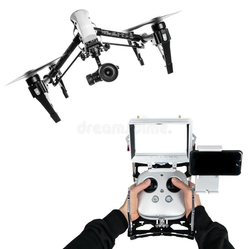 Operatore del fuco con il transmittion immagini stock libere da diritti