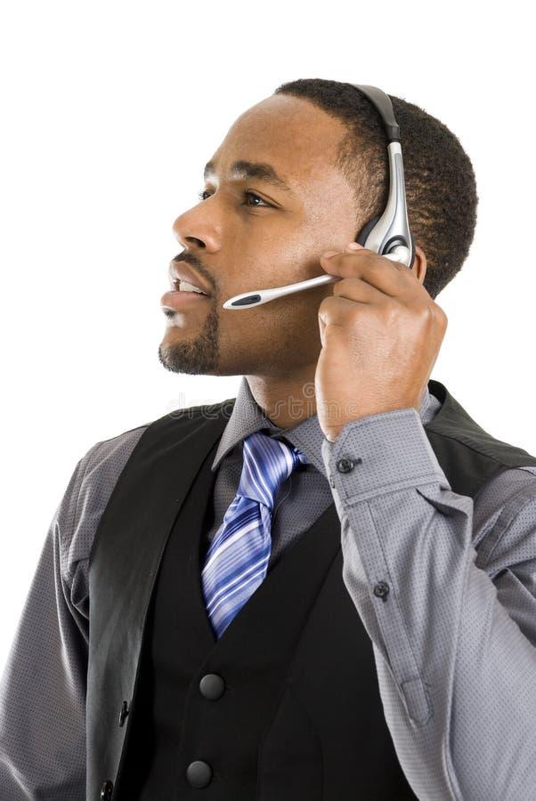 Operatore del servizio clienti dell'afroamericano immagini stock libere da diritti