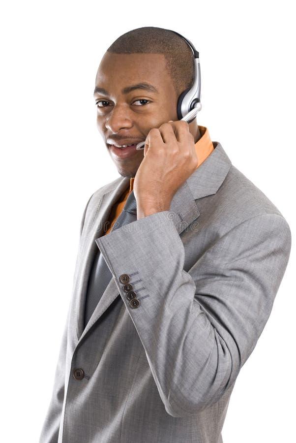 Operatore del servizio clienti dell'afroamericano fotografie stock libere da diritti