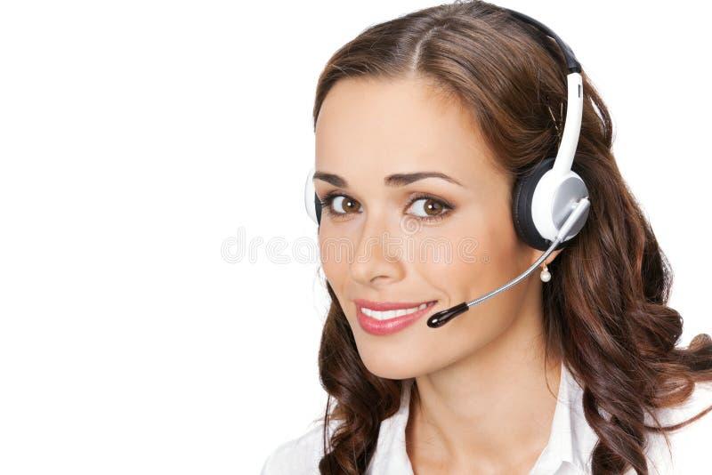 Operatore del telefono di sostegno, su bianco fotografia stock