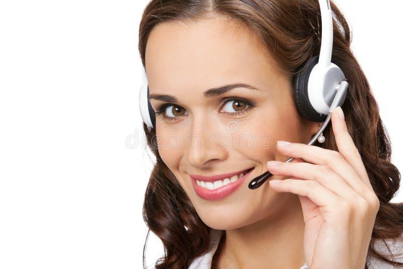 Operatore del telefono di sostegno, su bianco immagine stock libera da diritti