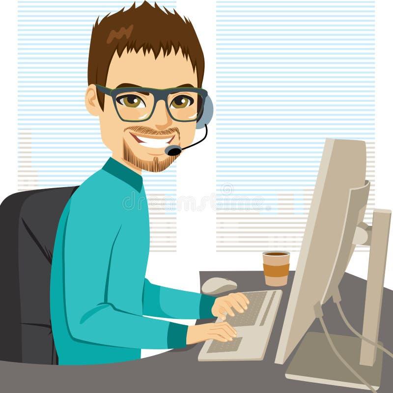 Operatore di call center di aiuto royalty illustrazione gratis