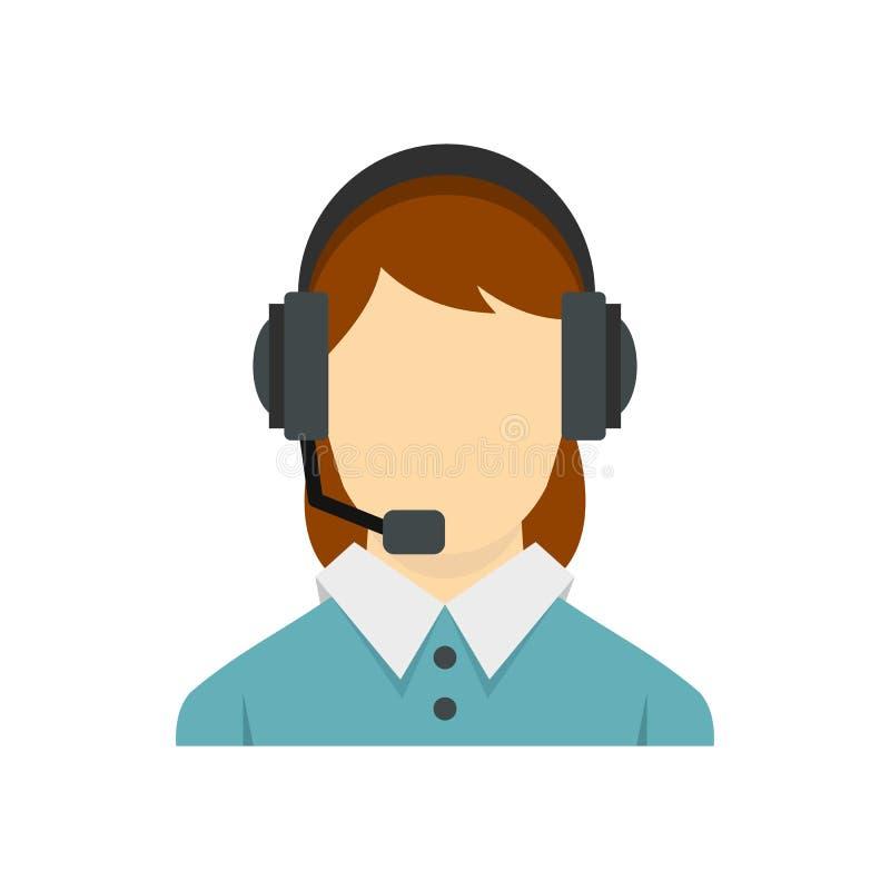 Operatore di call center con l'icona della cuffia avricolare del telefono illustrazione vettoriale