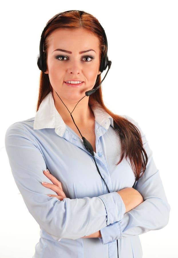 Operatore di call center isolato su bianco. Servizio clienti fotografia stock
