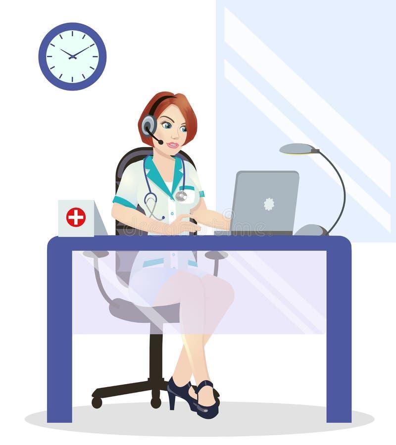 Operatore di call center medico sul lavoro Su fondo bianco Concetto di emergenza con l'operatore medico dell'help-line illustrazione vettoriale