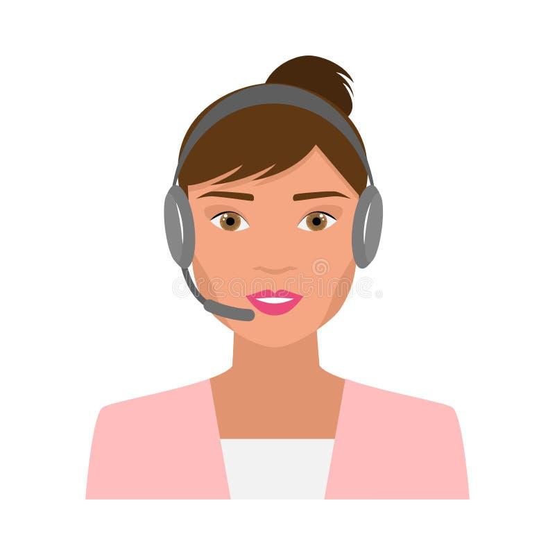 Operatore di call center sveglio della donna con le cuffie moderne royalty illustrazione gratis
