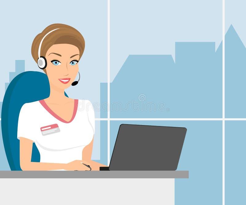 Operatore di centro femminile di chiamata illustrazione vettoriale