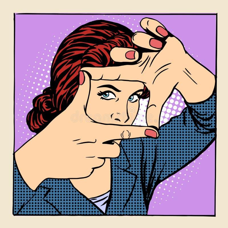 Operatore di gesto della donna della struttura della foto bello illustrazione di stock