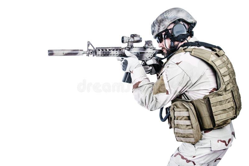 Operatore speciale barbuto di guerra fotografia stock libera da diritti