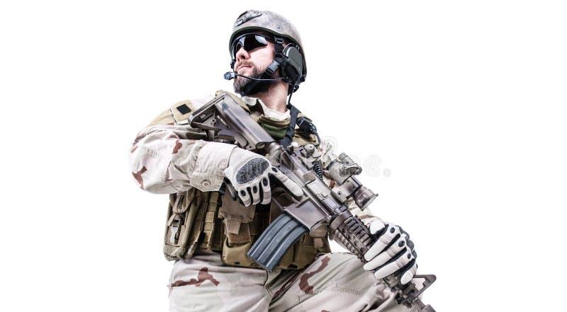 Operatore speciale barbuto di guerra immagini stock