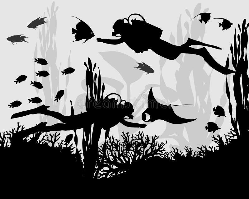 Operatore subacqueo in barriera corallina royalty illustrazione gratis