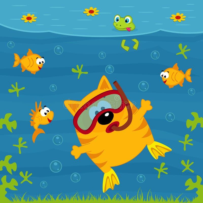 Operatore subacqueo del gatto royalty illustrazione gratis