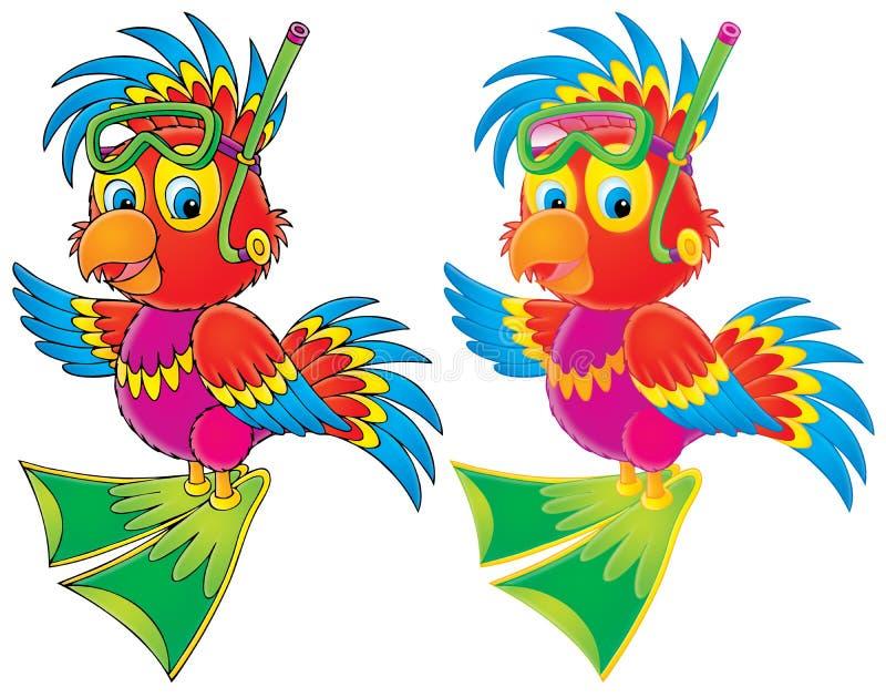 Operatore subacqueo del pappagallo illustrazione vettoriale