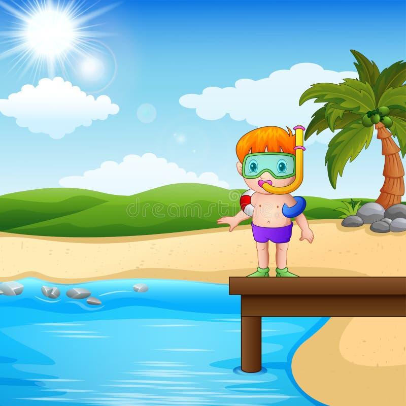 Operatore subacqueo del ragazzo che sta sulla spiaggia illustrazione di stock