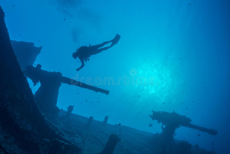 Operatore subacqueo del relitto fotografia stock