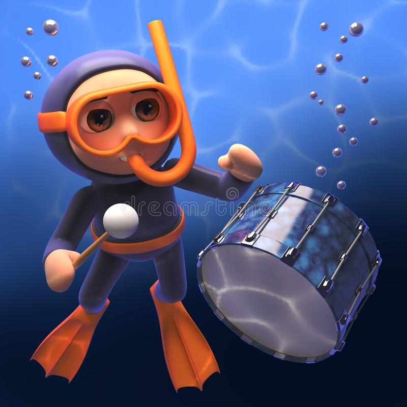 Operatore subacqueo della presa d'aria del fumetto che gioca i tamburi sotto il mare, illustrazione 3d illustrazione vettoriale