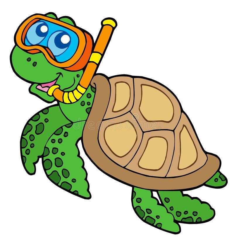 Operatore subacqueo della presa d'aria della tartaruga di mare illustrazione vettoriale