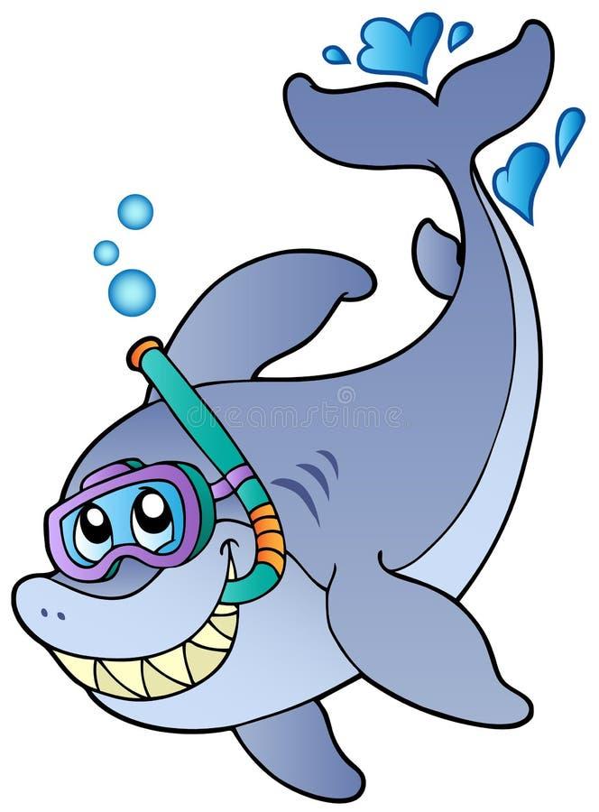 Operatore subacqueo della presa d'aria dello squalo illustrazione vettoriale