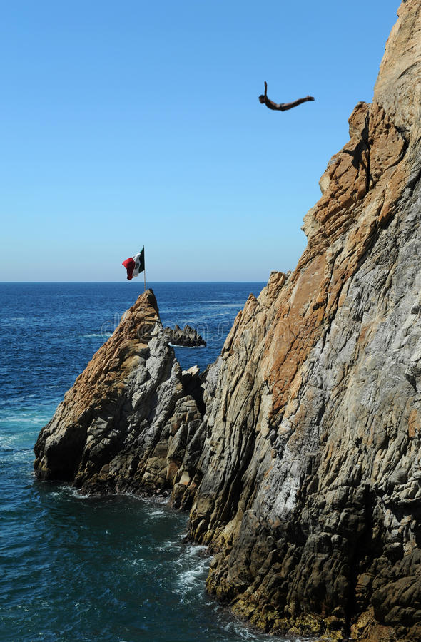 Operatore subacqueo della scogliera di Acapulco fotografia stock libera da diritti