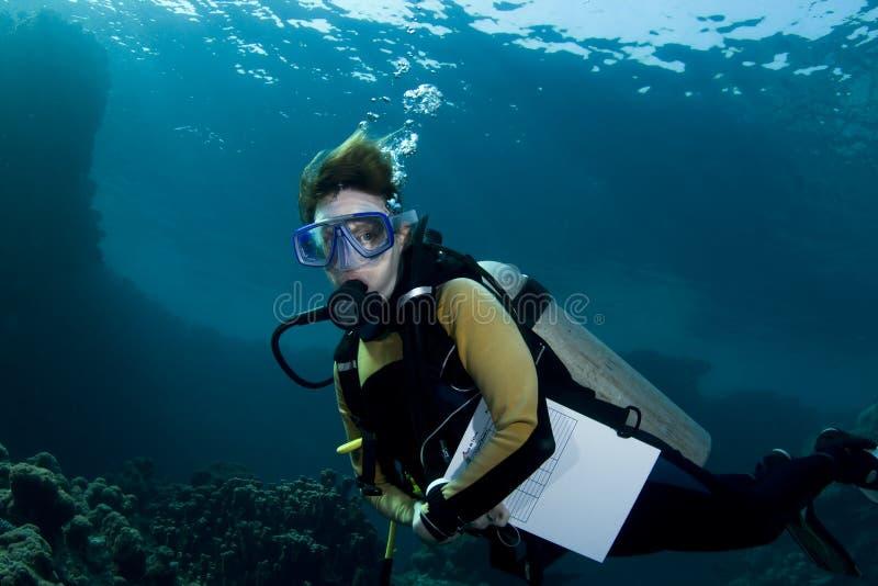 Operatore subacqueo di scuba dell'allievo femminile fotografie stock libere da diritti