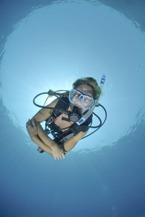 Operatore subacqueo di scuba della femmina adulta in bikini fotografie stock libere da diritti