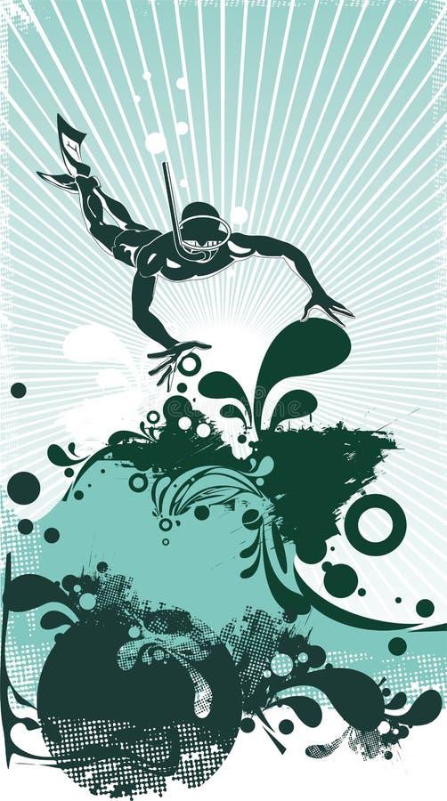 Operatore subacqueo di scuba di vettore di Stilyzed illustrazione vettoriale