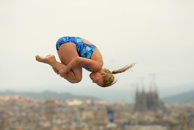 Operatore subacqueo nella concorrenza di Barcellona fotografia stock