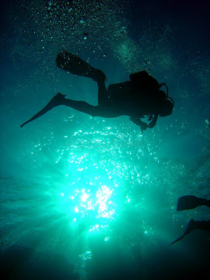 Operatore subacqueo qui sopra immagini stock
