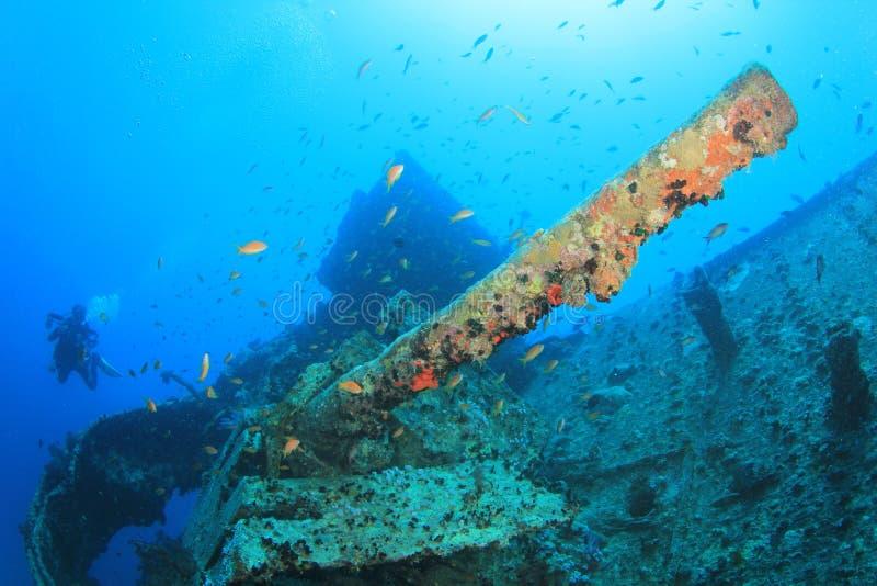 Operatore subacqueo sugli ss Thistelgorm immagine stock