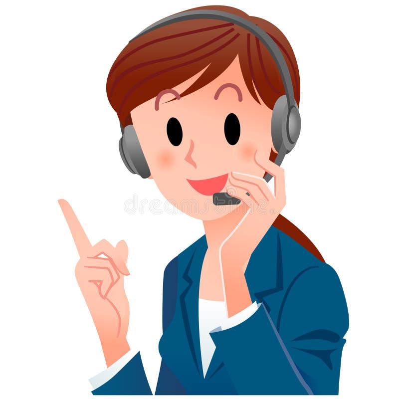 Operatore sveglio del telefono di sostegno del primo piano che indica in su illustrazione di stock