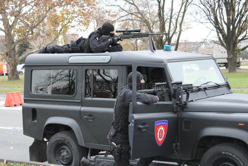 Operatori serbi della polizia immagine stock libera da diritti