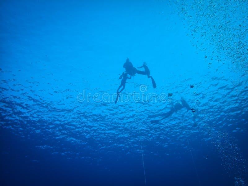Operatori subacquei liberi che si tuffano foro blu, Mar Rosso, Egitto, Dahab immagini stock