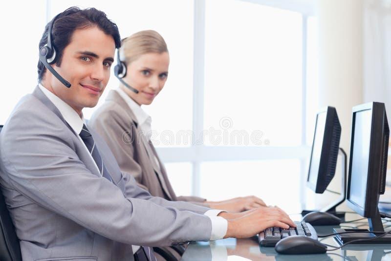 Operators Using A Monitor Stock Photos