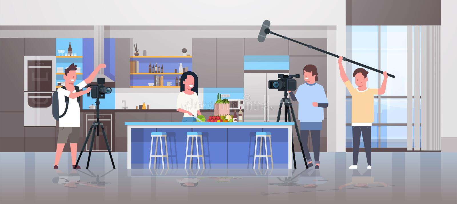 Operators using video camera recording food blogger woman preparing tasty dishes videographers using professional. Equipment cooking blog film production royalty free illustration
