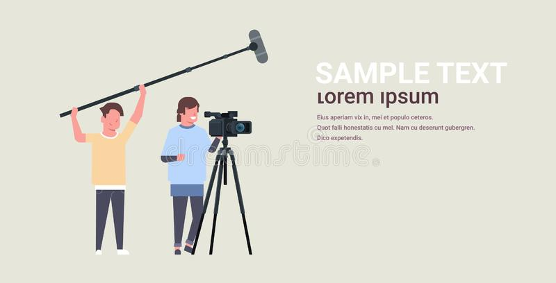 Operators using video camera on tripod holding microphone men working with professional equipment recording movie making. Film production concept horizontal vector illustration