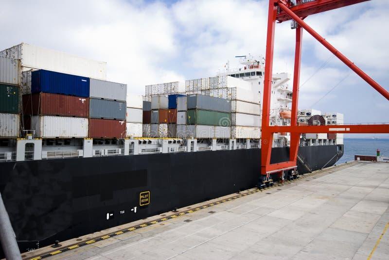 Operazione del contenitore in porto con le gru ed il caricamento del cavalletto/i contenitori di scarico immagini stock