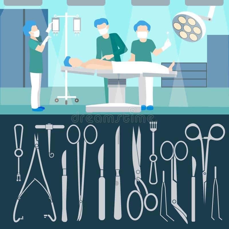 Operazione della chirurgia Personale medico Stanza di ospedale chirurgia illustrazione di stock