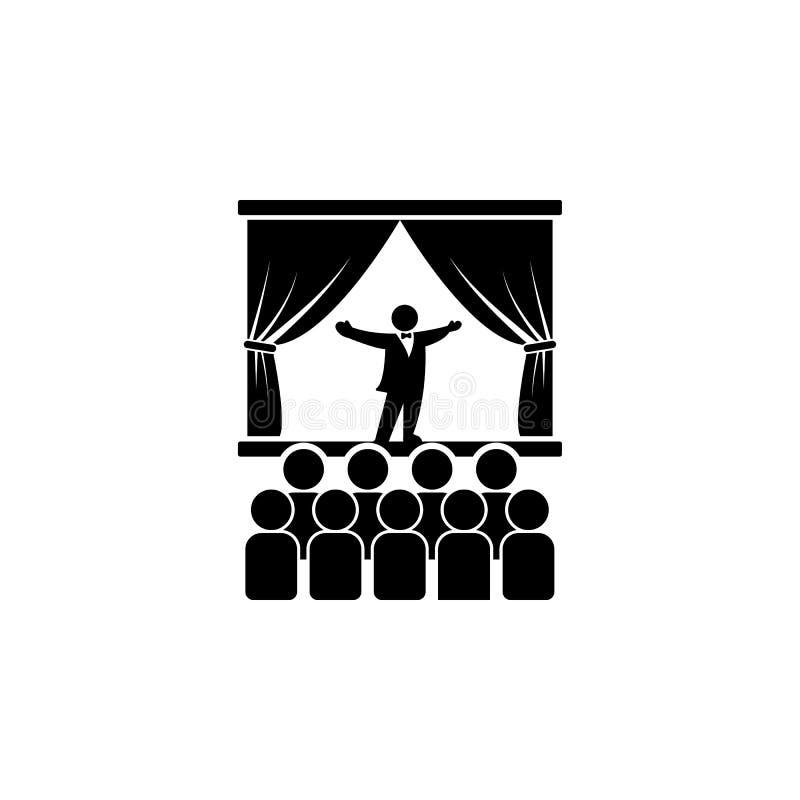 Opernsänger auf Stadiumsikone Element der Theater- und Kunstillustration Erstklassige Qualitätsgrafikdesignikone Zeichen und Symb lizenzfreie abbildung