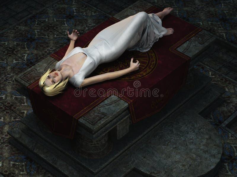 Opferjungfrau auf Altar von den Unkosten stock abbildung