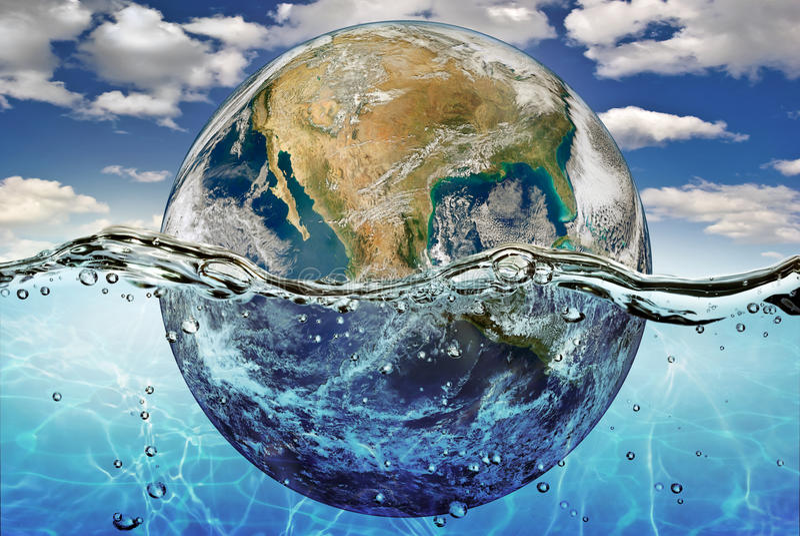 Opgedroogde die planeet in de wateren van wereldoceaan wordt ondergedompeld stock afbeeldingen