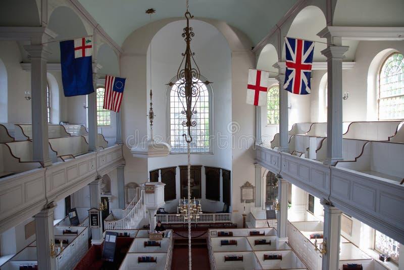 Opgeheven binnenlandse mening van historische Oude het Noordenkerk royalty-vrije stock foto