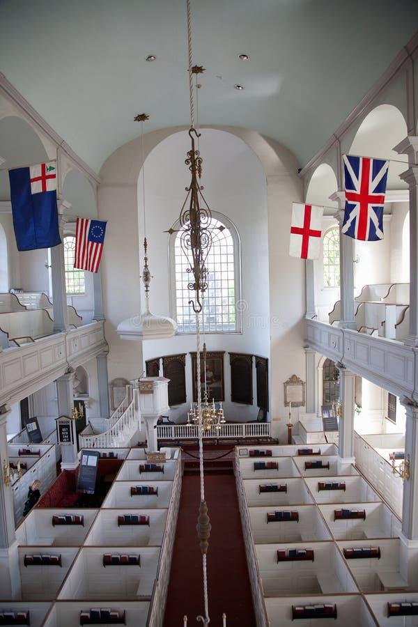 Opgeheven binnenlandse mening van historische Oude het Noordenkerk royalty-vrije stock afbeelding