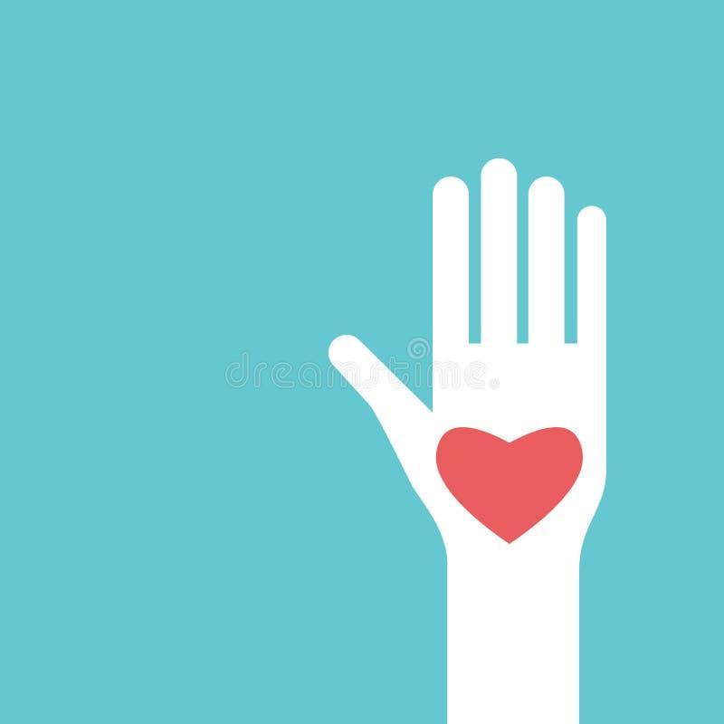 Opgeheven hand met hart stock illustratie