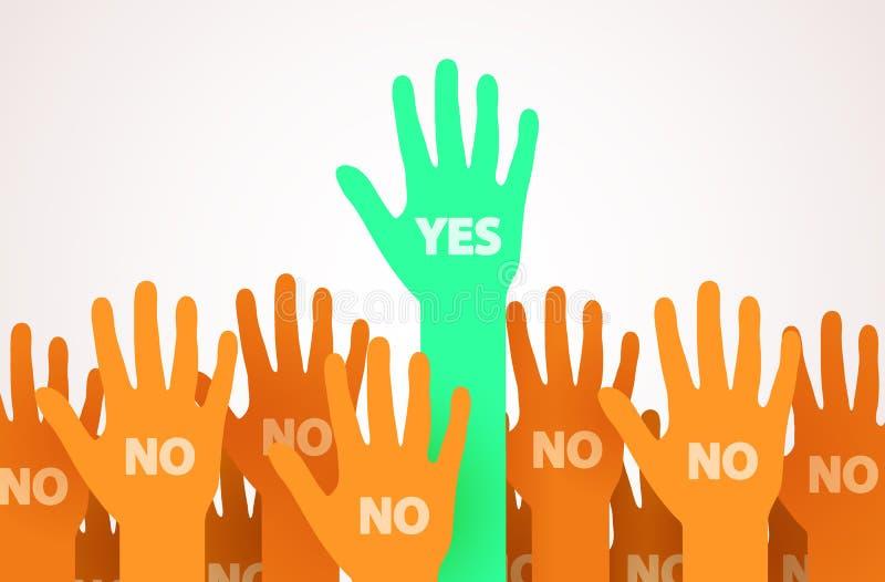 Opgeheven handen met één individualiteit of unieke persoon die ja zeggen Één leider van de menigte Stemming of vrijwilligersconce stock illustratie