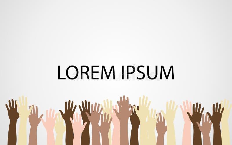 Opgeheven handen omhoog samen met verschillende huidtoon stock illustratie