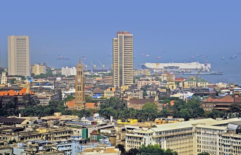 Opgeheven mening van Beurs van Mumbai India royalty-vrije stock foto's