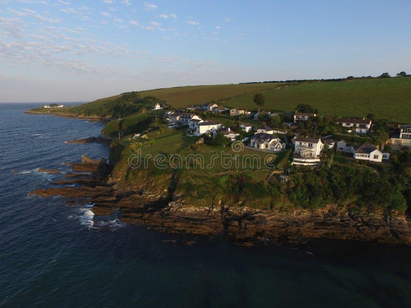 Opgeheven mening van mevagisseybaai in Cornwall stock foto